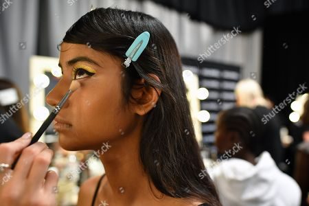 A model has her make-up done backstage ahead of the Carla Zampatti show during Mercedes-Benz Fashion Week Australia in Sydney, Australia, 16 May 2019. The fashion event runs from 12 to 17 May.
