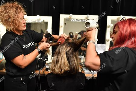 A model has her hair done backstage ahead of the Carla Zampatti show during Mercedes-Benz Fashion Week Australia in Sydney, Australia, 16 May 2019. The fashion event runs from 12 to 17 May.