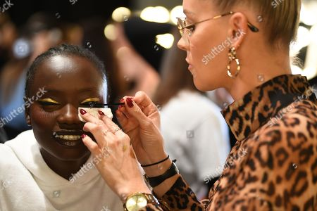 Stock Image of A model has her make-up done backstage ahead of the Carla Zampatti show during Mercedes-Benz Fashion Week Australia in Sydney, Australia, 16 May 2019. The fashion event runs from 12 to 17 May.