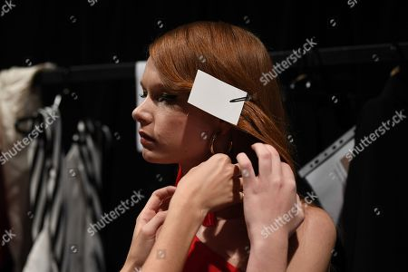 A model is preparing backstage ahead of the Carla Zampatti show during Mercedes-Benz Fashion Week Australia in Sydney, Australia, 16 May 2019. The fashion event runs from 12 to 17 May.