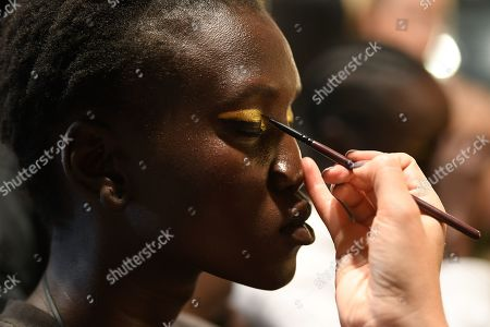 Stock Photo of A model has her make-up done backstage ahead of the Carla Zampatti show during Mercedes-Benz Fashion Week Australia in Sydney, Australia, 16 May 2019. The fashion event runs from 12 to 17 May.