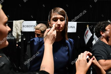 Models prepare backstage ahead of the Carla Zampatti show during Mercedes-Benz Fashion Week Australia in Sydney, Australia, 16 May 2019. The fashion event runs from 12 to 17 May.
