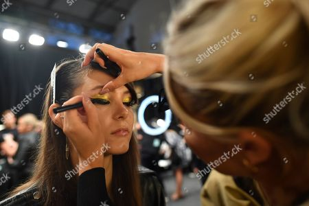 Stock Picture of Models prepare backstage ahead of the Carla Zampatti show during Mercedes-Benz Fashion Week Australia in Sydney, Australia, 16 May 2019. The fashion event runs from 12 to 17 May.