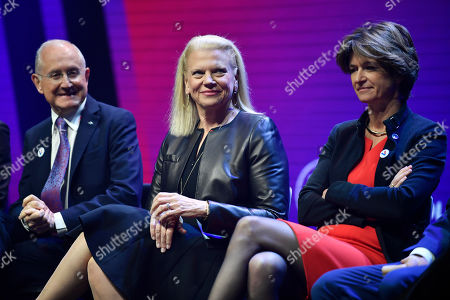 La Poste CEO Philippe Wahl, IBM President and CEO Virginia Rometty and chief executive officer of Engie SA Isabelle Kocher attend the Vivatech startups and innovation fair, in Paris, France, 16 May 2019. Acording to organizers, VivaTech is the 'world's rendezvous for startups and leaders to celebrate innovation'. It aims to gather the world's brightest minds, talents, and products taking place in Paris on 16 to 18 May 2019.