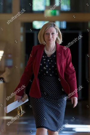 Scottish Parliament First Minister's Questions - Gillian Martin makes her way to the Debating Chamber