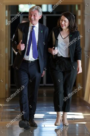 Scottish Parliament First Minister's Questions - Richard Leonard, Leader of the Scottish Labour Party, and Monica Lennon make their way to the Debating Chamber