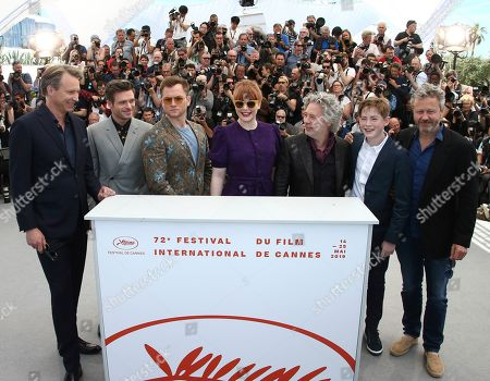 Giles Martin, Richard Madden, Taron Egerton, Bryce Dallas Howard, Adam Bohling, Dexter Fletcher, Kit Connor. Music producer Giles Martin, from left, actors Richard Madden, Taron Egerton, Bryce Dallas Howard, director Dexter Fletcher, actor Kit Connor and producer Adam Bohling pose for photographers at the photo call for the film 'Rocketman' at the 72nd international film festival, Cannes, southern France
