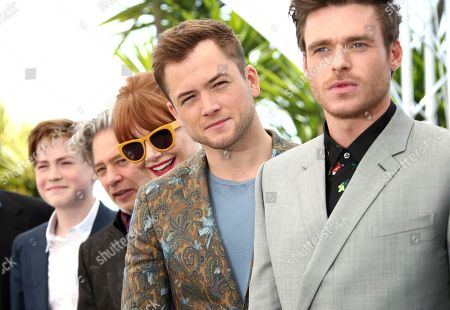 Giles Martin, Kit Connor, Dexter Fletcher, Bryce Dallas Howard, Taron Egerton, Richard Madden. Actor Kit Connor, from left, director Dexter Fletcher, actors Bryce Dallas Howard, Taron Egerton and Richard Madden pose for photographers at the photo call for the film 'Rocketman' at the 72nd international film festival, Cannes, southern France