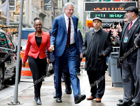 """Stock Image of Bill deBlasio, Chirlane McCray. New York Mayor Bill de Blasio and his wife Chirlane McCray arrive at """"Good Morning America"""" in New York, . De Blasio announced Thursday that he will seek the Democratic nomination for president, adding his name to an already long list of candidates itching for a chance to take on Donald Trump"""