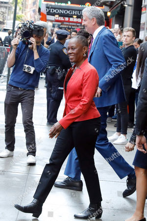 """Stock Photo of Bill deBlasio, Chirlane McCray. New York Mayor Bill de Blasio and his wife Chirlane McCray leave """"Good Morning America"""" in New York, after their appearance . De Blasio announced Thursday that he will seek the Democratic nomination for president, adding his name to an already long list of candidates itching for a chance to take on Donald Trump"""