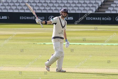 John Simpson acknowledges the crowd on reaching 50 during the Specsavers County Champ Div 2 match between Middlesex County Cricket Club and Leicestershire County Cricket Club at Lord's Cricket Ground, St John's Wood