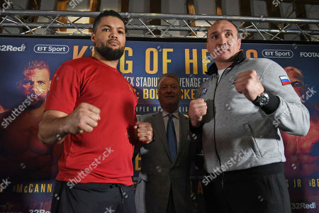Joe Joyce (L) and Alexander Ustinov during a Press Conference at Knebworth House on 16th May 2019