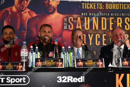 Billy Joe Saunders (2nd L) during a Press Conference at Knebworth House on 16th May 2019