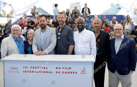 Cliff Morrison, Alison Moed, Dan Krauss, Guy Vandenberg, Steve Williams, Keiynan Lonsdale, Hank Plante. Nurses Cliff Morrison, from left, Alison Moed, director Dan Krauss, nurse Guy Vandenberg, Steve Williams, actor Keiyan Lonsdale and television reporter Hank Plante pose for photographers at the photo call for the film '5B' at the 72nd international film festival, Cannes, southern France