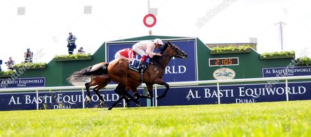 Stock Picture of Lah Ti Dar and Frankie Dettori win the Al Basti Equiworld Dubai Middleton Stakes at York for trainer John Gosden and owner Lady Lloyd Webber.