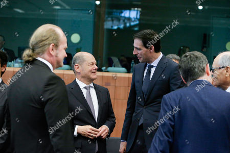 German Minister of Finance Olaf Scholz (L) and Netherlands' Minister of Finance Wopke Hoekstra (R) , at the  Eurogroup finance ministers meeting  at the European Council in Brussels, Belgium, 16 May 2019. The Eurogroup will exchange views on the economic situation of the euro area following  the European Commission Spring forecast published on 07 May.