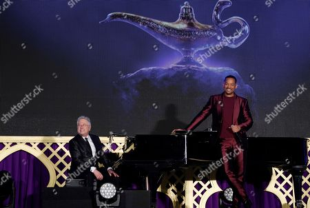 Will Smith (R) on stage with US composer Alan Menken during a promotional event for the movie 'Aladdin' in Tokyo, Japan, 16 May 2019. The movie will be screened across Japan from 07 June on.