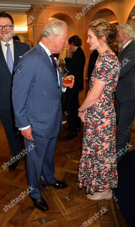 Stock Image of Prince Charles, Prince Charles speaks to Felicity Blunt at the Fortnum & Mason Food and Drink Awards at the Diamond Jubilee Tea Salon in the Piccadilly flagship store.