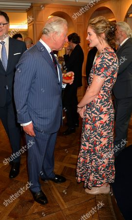 Prince Charles, Prince Charles speaks to Felicity Blunt at the Fortnum & Mason Food and Drink Awards at the Diamond Jubilee Tea Salon in the Piccadilly flagship store.