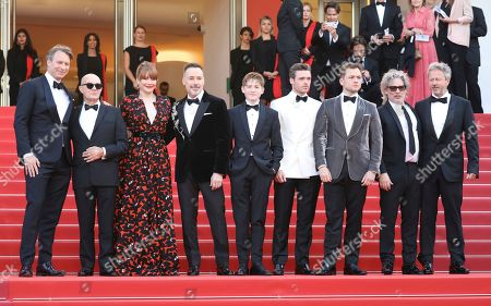 Giles Martin, Bernie Taupin, Bryce Dallas Howard, David Furnish, Kit Connor, Richard Madden, Taron Egerton, Dexter Fletcher, Adam Bohlin. Music producer Giles Martin, from left, songwriter Bernie Taupin, actress Bryce Dallas Howard, producer David Furnish, actors Kit Connor, Richard Madden, Taron Egerton, director Dexter Fletcher and producer Adam Bohling pose for photographers upon arrival at the premiere of the film 'Rocketman' at the 72nd international film festival, Cannes, southern France