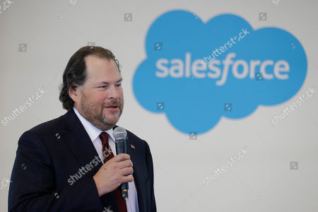 Salesforce chairman Marc Benioff speaks during a news conference, in Indianapolis. The business software company says it aims to provide skills training to 500,000 people as part of a Trump administration push to boost career opportunities among Americans