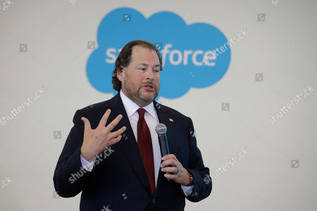 Salesforce chairman Marc Benioff speaks during a news conference, in Indianapolis. The business software company said it aims to provide skills training to 500,000 people as part of a Trump administration push to boost career opportunities among Americans
