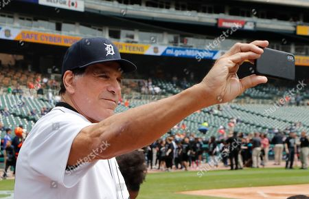 Actor Lou Ferrigno takes a selfie before throwing out the ceremonial first pitch before a baseball game between the Detroit Tigers and the Oakland Athletics, in Detroit
