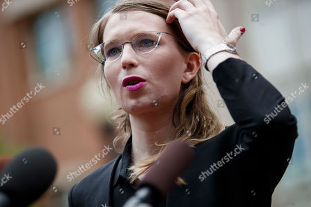Chelsea Manning, the former US Army intelligence analyst who provided secret documents to WikiLeaks in 2010, responds to a question from the news media as she arrives to testify before the grand jury at the Albert V. Bryan United States Courthouse in Alexandria, Virginia, USA, 16 May 2019. Manning, who was convicted of espionage by US Army court-martial in 2013, has stated that she does not plan to answer questions from the grand jury and is willing to be jailed for contempt of court.