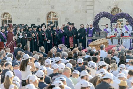 Lebanese Patriarch Bashara al-Ra'i stands beside the patriarchs of Christian communities in Lebanon and the Middle East (L) where they pray next to the coffin of late Lebanese Maronite Patriarch Cardinal Nasrallah Sfeir at the Maronite Patriarchate Square, northeast Beirut, Lebanon 16 May 2019. Sfeir died on 12 May at the age of 99 after days of intensive medical care. The funeral of Patriarch Sfeir was attended by Lebanese President Michel Aoun, Prime Minister Saad Hariri and Speaker Nabih Berri and representing Arab and foreign countries.