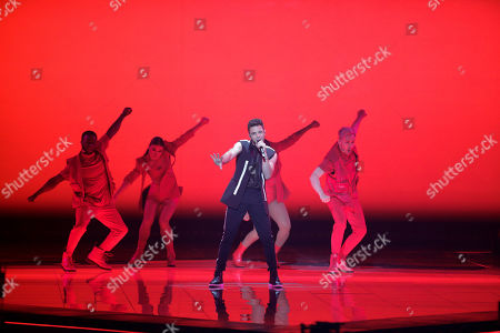 Luca Hanni of Switzerland performs during the 2019 Eurovision Song Contest second semi-final in Tel Aviv, Israel