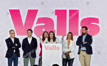 Spanish Ciudadanos (Citizens) party's Spokeswoman Ines Arrimadas (C) and candidate to the Town Hall in Barcelona for Ciudadanos (C's) Party, Manuel Valls (2-L), attend a rally of the electoral campaign for the European, local and regional elections in Barcelona, Spain, 16 May 2019. European, local and regional elections will take place 26 May 2019.