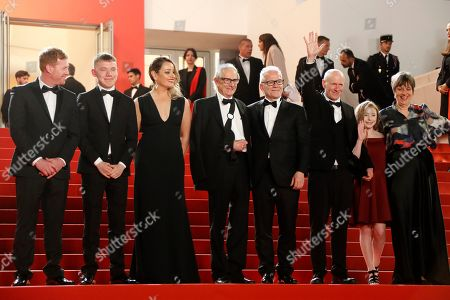 Kris Hitchen, Rhys Stone, Debbie Honeywood, Ken Loach, Thierry Frémaux, Paul Laverty, Katie Proctor and Rebecca O'brien arrive for the screening of 'Sorry We Missed You' during the 72nd annual Cannes Film Festival, in Cannes, France, 16 May 2019. The movie is presented in the Official Competition of the festival which runs from 14 to 25 May.
