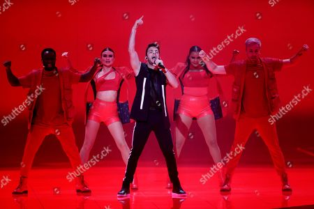 Contestant Luca Haenni of Switzerland performs during the second Semi-Final of the 64th annual Eurovision Song Contest (ESC) at the Expo Tel Aviv, in Tel Aviv, Israel, 16 May 2019. The Grand Final will be held on 18 May.