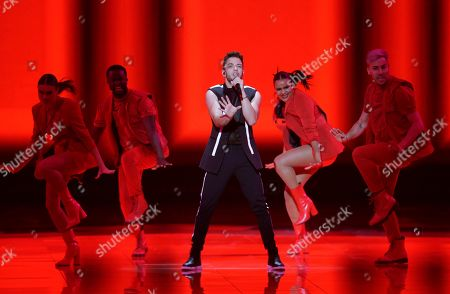 Contestant Luca Haenni of Switzerland performs during the Second Semi-Final of the 64th annual Eurovision Song Contest (ESC) at the Expo Tel Aviv, in Tel Aviv, Israel, 16 May 2019. The Grand Final is held on 18 May.