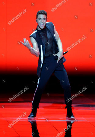 Stock Photo of Contestant Luca Haenni of Switzerland performs during the Second Semi-Final of the 64th annual Eurovision Song Contest (ESC) at the Expo Tel Aviv, in Tel Aviv, Israel, 16 May 2019. The Grand Final is held on 18 May.
