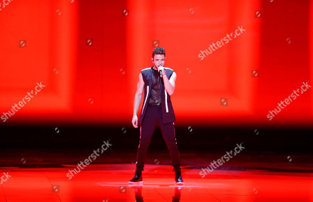 Stock Picture of Contestant Luca Haenni of Switzerland performs during the Second Semi-Final of the 64th annual Eurovision Song Contest (ESC) at the Expo Tel Aviv, in Tel Aviv, Israel, 16 May 2019. The Grand Final is held on 18 May.