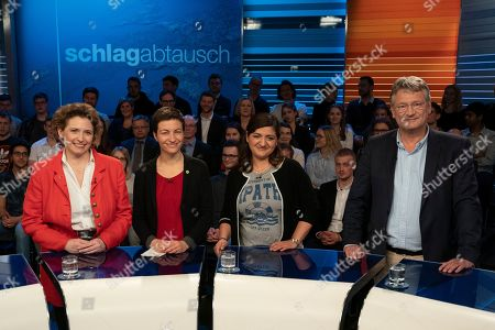 (L-R) Nicola Beer of Free Democratic Party (FDP), Ska Keller of The Greens party, Oezlem Demirel of The Left party and Joerg Meuthen of the right-wing populist party Alternative for Germany (AfD) pose ahead of a debate of German top candidates for European Parliament elections in German TV in Berlin, Germany, 16 May 2019. The elections to the European Parliament take place between 23 and 26 May 2019.