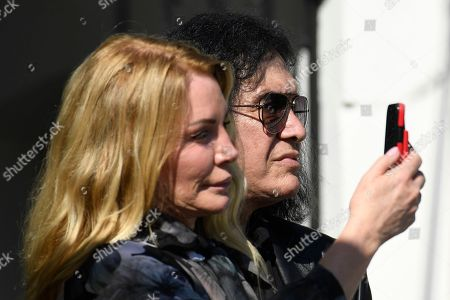 Stock Photo of Gene Simmons, Shannon Tweed. Gene Simmons and his wife Shannon Tweed watch the departure of President Donald Trump on Marine One on the South Lawn of the White House in Washington, . Trump is heading the New York for a campaign events