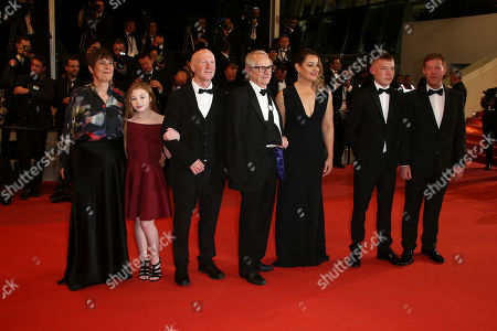 Rebecca O'Brien, Katie Proctor, Paul Laverty, Ken Loach, Debbie Honeywood, actor Rhys Stone, Kris Hitchen. Producer Rebecca O'Brien, from left, actor Katie Proctor, writer Paul Laverty, director Ken Loach, actress Debbie Honeywood, actor Rhys Stone, and actor Kris Hitchen pose for photographers upon arrival at the premiere of the film 'Sorry We Missed You' at the 72nd international film festival, Cannes, southern France