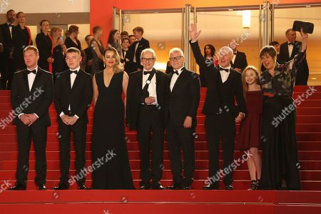 Kris Hitchen, Rhys Stone, Debbie Honeywood, Ken Loach, Thierry Fremaux, Paul Laverty, Katie Proctor, Rebecca O'Brien. Actors Kris Hitchen, from left, Rhys Stone, Debbie Honeywood, director Ken Loach, Cannes Film Festival Director Thierry Fremaux, writer Paul Laverty, actor Katie Proctor and producer Rebecca O'Brien pose for photographers upon arrival at the premiere of the film 'Sorry We Missed You' at the 72nd international film festival, Cannes, southern France