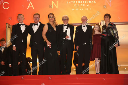 Rhys Stone, Kris Hitchen, Debbie Honeywood, Ken Loach, Paul Laverty, Katie Proctor, Rebecca O'Brien. Actors Rhys Stone, from left, Kris Hitchen, Debbie Honeywood, director Ken Loach, writer Paul Laverty, actor Katie Proctor and producer Rebecca O'Brien pose for photographers upon arrival at the premiere of the film 'Sorry We Missed You' at the 72nd international film festival, Cannes, southern France