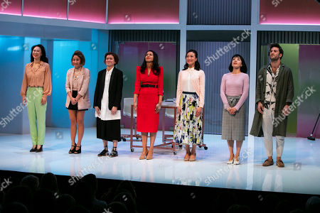 Minhee Yeo (Soo-Jin Park), Kae Alexander (Built Suttikul), Katie Leung (Sunny Lee), Farzana Dua Elahe (Priya Singh), Momo Yeung (Xiao Chen), Kanako Nakano (Ruki Minami) and Arty Froushan (Marcel Benoit) during the curtain call