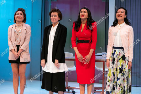 Stock Image of Kae Alexander (Built Suttikul), Katie Leung (Sunny Lee), Farzana Dua Elahe (Priya Singh) and Momo Yeung (Xiao Chen) during the curtain call
