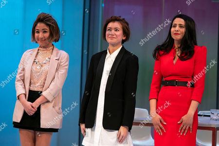 Kae Alexander (Built Suttikul), Katie Leung (Sunny Lee) and Farzana Dua Elahe (Priya Singh) during the curtain call
