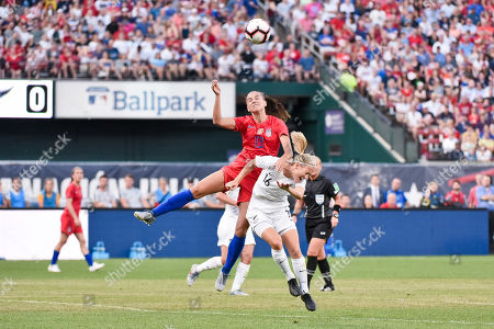 United States forward Alex Morgan (13) gets called for a foul as she shoves New Zealand midfielder Katie Duncan (16) during the send off series as the United States Women's National Team hosted New Zealand at Busch Stadium in St. Louis City, MO Ulreich/CSM