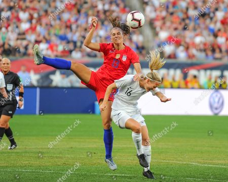 US forward, Alex Morgan (13), and New Zealand midfielder, Katie Duncan (16), in action during the International Women's Soccer match up between the USA and New Zealand, at Busch Stadium in St. Louis, MO. Kevin Langley/Sports South Media/CSM