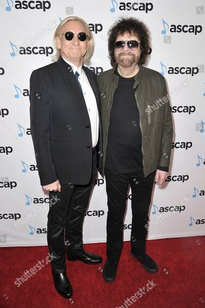Joe Walsh, Jeff Lynne. Joe Walsh, left, and Jeff Lynne attend the 36th Annual ASCAP Pop Music Awards at the Beverly Hilton, in Beverly Hills,Calif