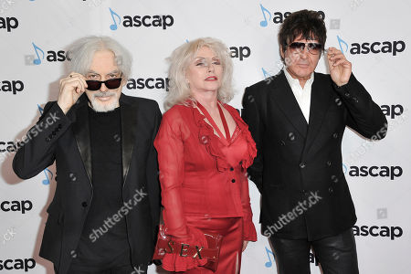 Stock Photo of Chris Stein, Debbie Harry, Clem Burke. Chris Stein, from left, Debbie Harry and Clem Burke attend the 36th Annual ASCAP Pop Music Awards at the Beverly Hilton, in Beverly Hills, Calif