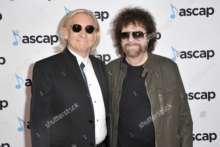 Joe Walsh, Jeff Lynne. Joe Walsh, left, and Jeff Lynne attend the 36th Annual ASCAP Pop Music Awards at the Beverly Hilton, in Beverly Hills, Calif