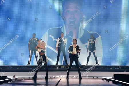 Pentatonix, Scott Hoying, Mitch Grassi, Kirstin Maldonado, Kevin Olusola, Matt Sallee. Pentatonix performs live in concert at The Forum, in Inglewood, Calif